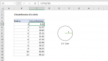 Excel formula: Circumference of a circle