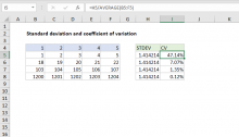 Excel formula: Coefficient of variation