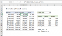 Excel formula: Commission split formula example