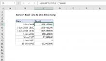 Excel formula: Convert Unix time stamp to Excel date | Exceljet
