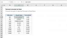 Excel formula: Convert decimal minutes to Excel time