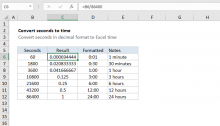 Excel formula: Convert decimal seconds to Excel time