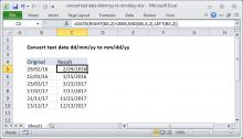 Excel formula: Convert text date dd/mm/yy to mm/dd/yy