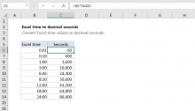 Excel formula: Convert Excel time to decimal seconds