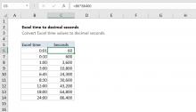 Excel formula: Convert Excel time to decimal seconds