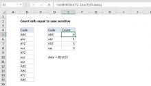 Excel formula: Count cells equal to case sensitive