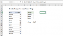 Excel formula: Count cells equal to one of many things