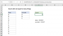 Excel formula: Count cells not equal to many things