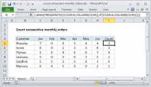 Excel formula: Count consecutive monthly orders