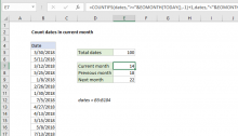 Excel formula: Count dates in current month