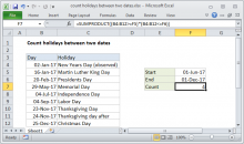Excel formula: Count holidays between two dates