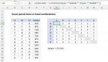 Excel formula: Count paired items in listed combinations