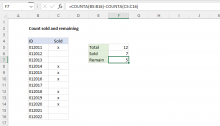 Excel formula: Count sold and remaining