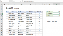Excel formula: Count table columns