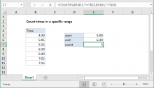 Excel formula: Count times in a specific range