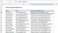 Excel formula: Create email with display name