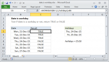 Excel formula: Date is workday