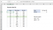 Excel formula: Dynamic date list
