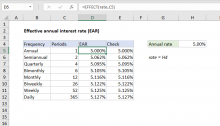 Excel formula: Effective annual interest rate