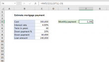 Excel formula: Estimate mortgage payment