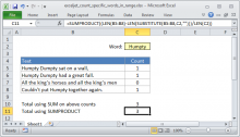 Excel formula: Count specific words in a range