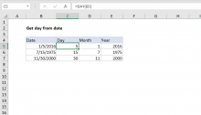 Excel formula: Get day from date