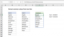 Excel formula: Extract common values from two lists
