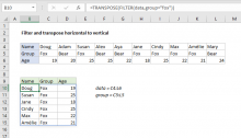 Excel formula: Filter and transpose horizontal to vertical
