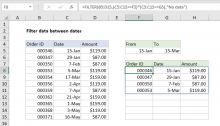 Excel formula: Filter data between dates