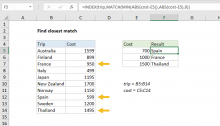Excel formula: Find closest match
