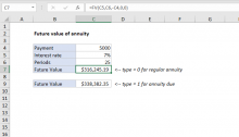 Excel formula: Future value of annuity