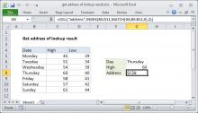Excel formula: Get address of lookup result