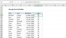 Excel formula: Get age from birthday