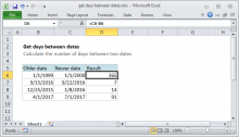 Excel formula: Get days between dates