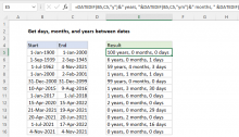 Excel formula: Get days, months, and years between dates