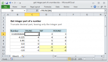 Excel formula: Get integer part of a number