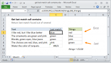 Excel formula: Get last match cell contains