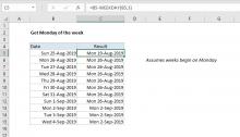 Excel formula: Get Monday of the week