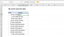 Excel formula: Get month name from date