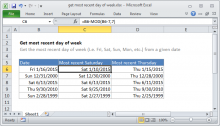 Excel formula: Get most recent day of week