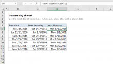 Excel formula: Get next day of week