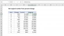 Excel formula: Get original number from percent change