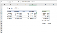 Excel formula: Get project end date