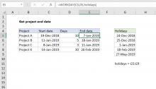 Excel formula: Get project end date