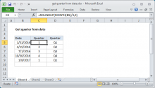 Excel formula: Get quarter from date