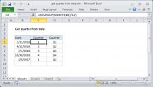 Excel formula: Get quarter from date