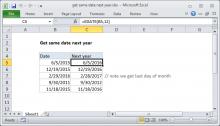 Excel formula: Get same date next year