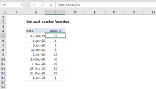 Excel formula: Get week number from date