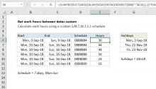 Excel formula: Get work hours between dates custom schedule