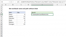Excel formula: Get workbook name and path without sheet